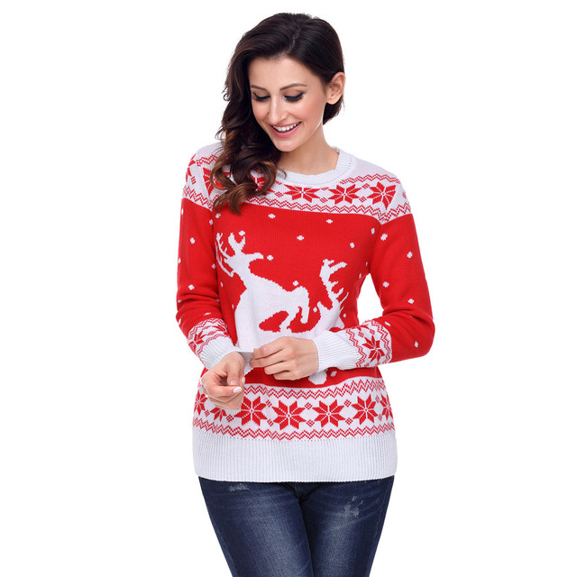 women christmas sweater shirt gift new style double color stitching neck long snow reindeer pattern knitted