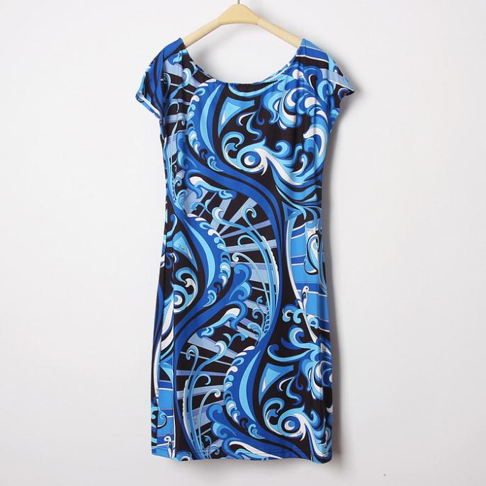 새로운 2015 디자이너 럭셔리 브랜드 여성용 블루 프린트 반소매 스트레치 저지 실크 플러스 사이즈 xxl 드레스-에서드레스부터 여성 의류 의  그룹 3