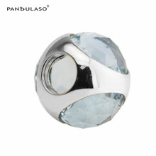 Pandulaso Radiant Droplet Aqua Blue Clear CZ Beads For Charms Silver 925 Original Bracelets Women DIY Sterling Silver Jewelry