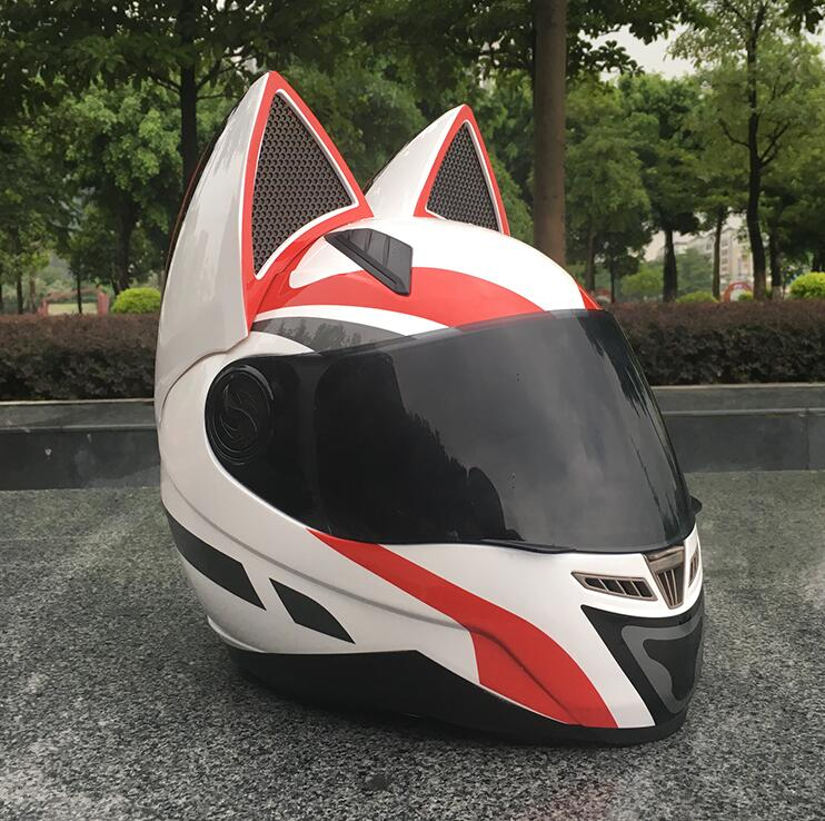2019 Cat ears motorcycle helmet mens personality cool full face helmet locomotive anti-fog ladies cat ears white red helmet2019 Cat ears motorcycle helmet mens personality cool full face helmet locomotive anti-fog ladies cat ears white red helmet