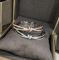 Classic Love Cross Infinity Charm Bracelets Women Fashion Style Gold Rhinestone Love Bangle Cuff Bracelet Jewelry