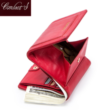 100% Genuine Leather Women Wallets Short Coin Purse Card Hol