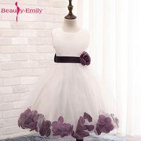 Flower Petals Girls Party Dress Children Baby Wedding Bridesmaid Dress 2017 New Designs Kids Prom Gown