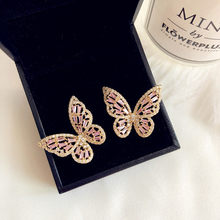 925 Silver Needles Stud Earrings For Women Sweet Hollow Pink Cubic Zirconia Diamant Butterfly Ear Studs Temperament Fine Jewelry(China)