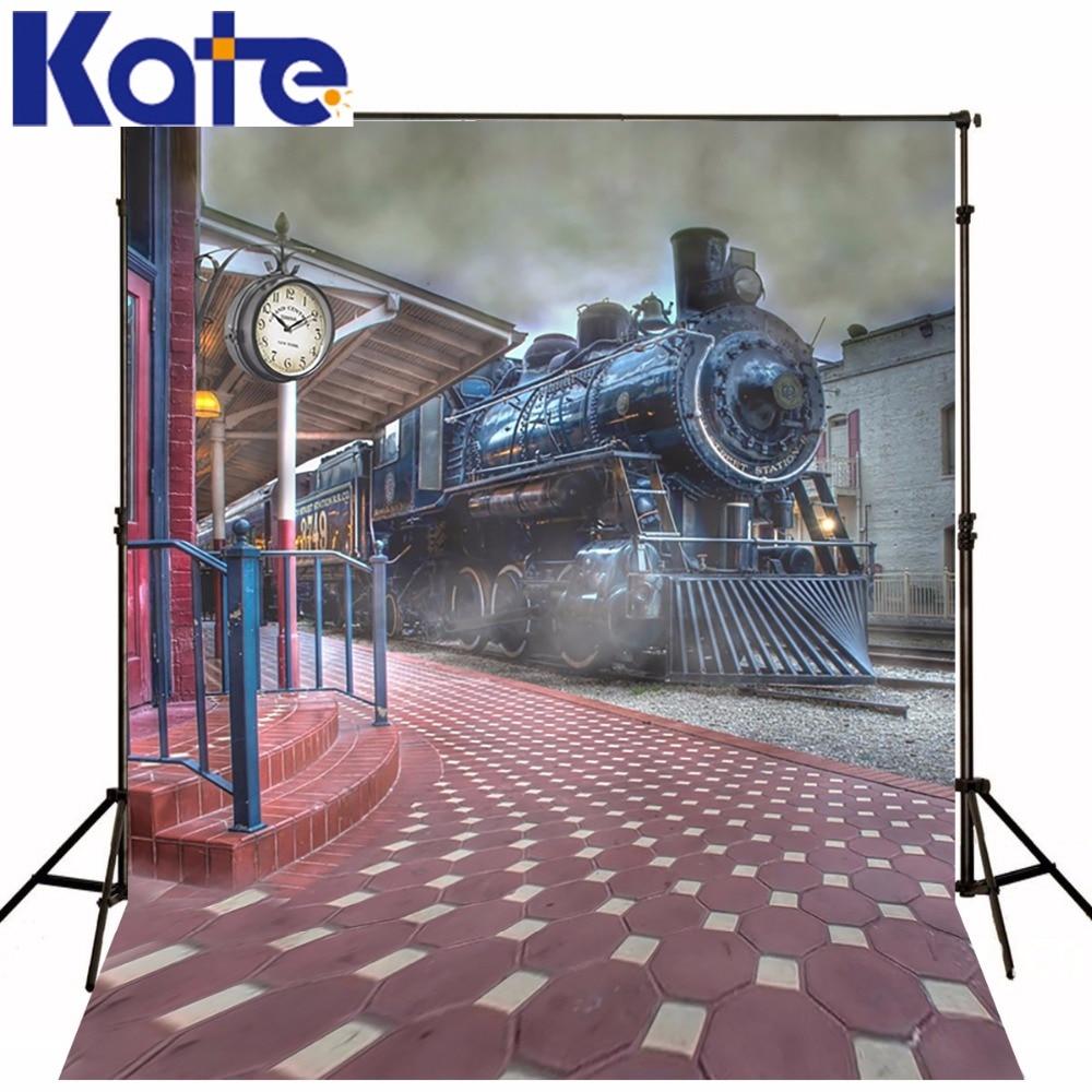 10X10FT (300X300 CM) Kate enfants Photographie Décors Train Station Rétro Photographie Décors Photo Studio Toile Personnalisée