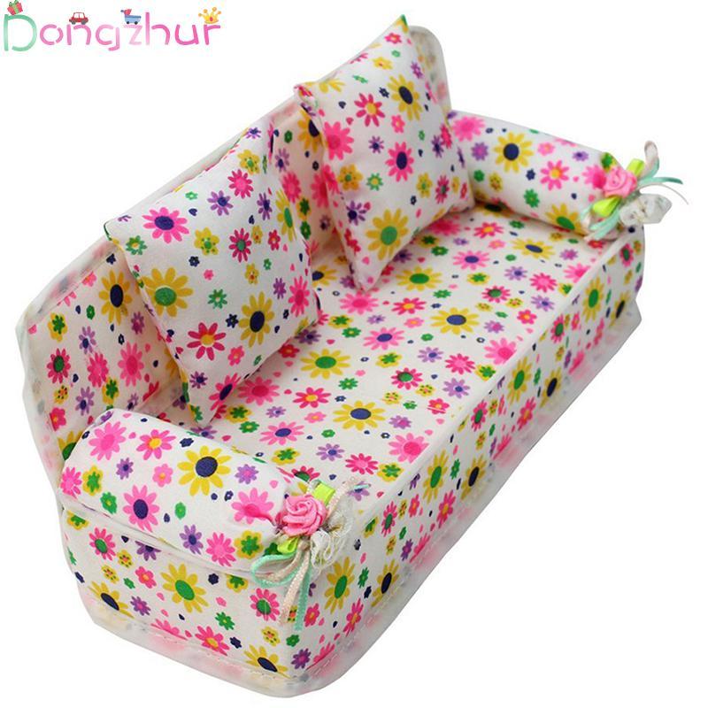 Cute Flower Mini-bed With Two Pillows Mini Dollhouse Furnitu