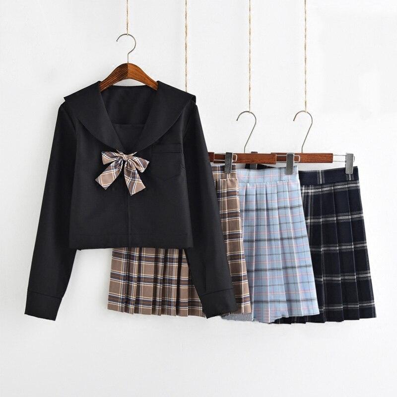 Uniforme d'école japonaise filles classique angleterre coréen lycée femmes marin costumes Graduation uniforme Top + grille jupe 3 Style