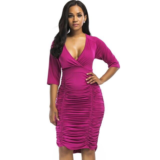 c3cb5db5349 European Style Women Bodycon Dress Plus Size Draped Ruched Elegant Sexy  Club Dress 2017 V Neck Red Midi Cocktail Party Dresses