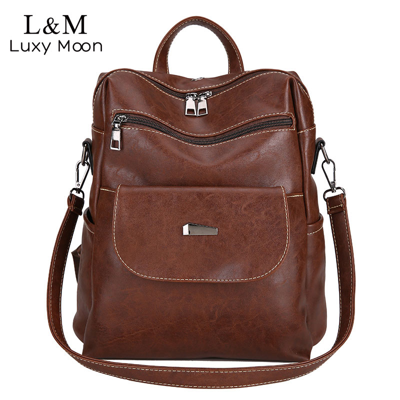 Vintage Leather Backpack Women Solid Softback Zipper Rucksack Bags Casual Backpacks Simple Style Girl Travel Shoulder