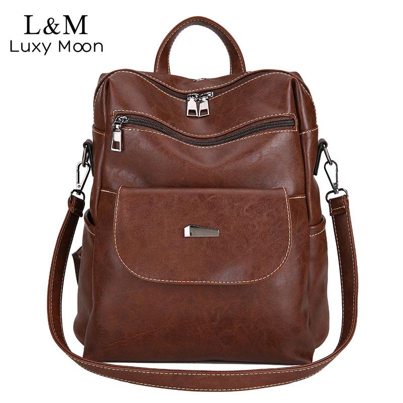 Vintage Leather Backpack Women Solid Softback Zipper Rucksack Bags Casual Backpacks Simple Style Girl Travel Shoulder