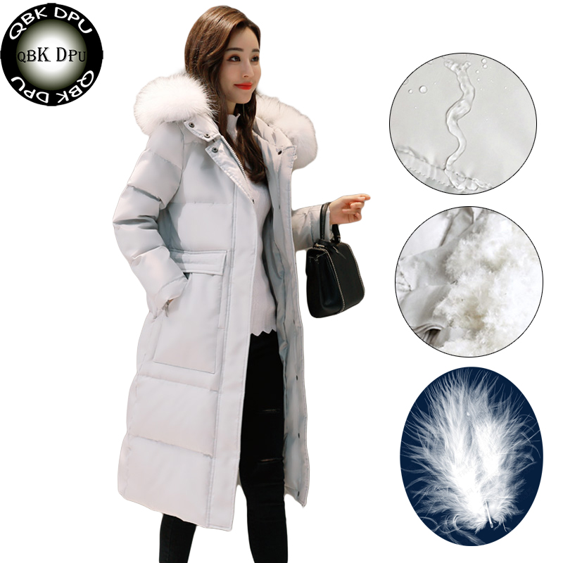 Women's white duck   down     coat   winter 2018 New arrival Ladies Real Fur Collar Warm long Parkas Chaqueta Mujer