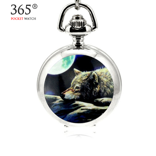 Antique Totem of Wolves Quartz Necklace Pocket Watch Small Pendant Men Women Watch