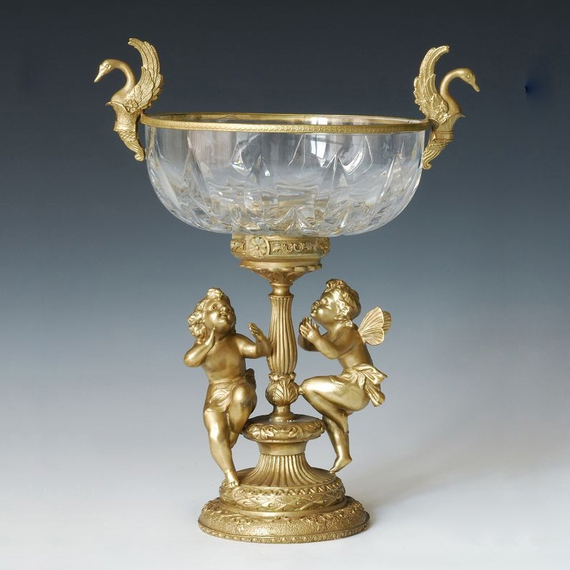 Crystal  Tray Statues With Bronze Angels Cherub Base Glass   Fruit Dish Table Holiday House Decoration Souvenir 007