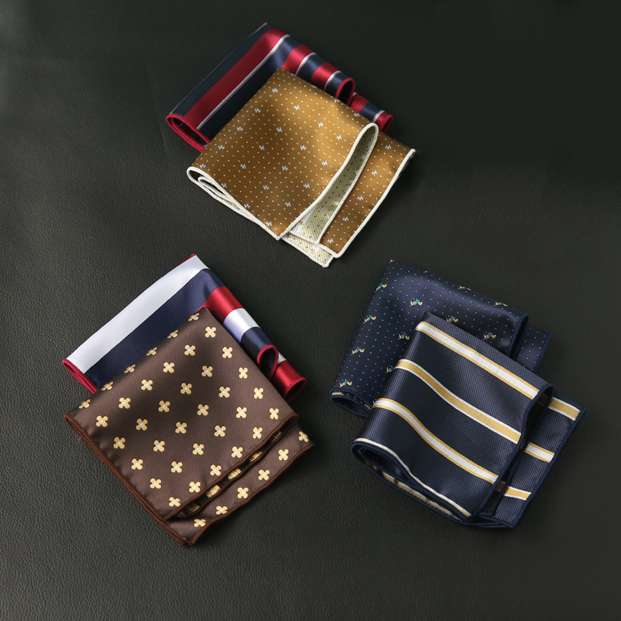 Polyester Handkerchief Pocket Square For Mens Business Suits Striped Pocket Towel Hankies Plaid Chest Towel