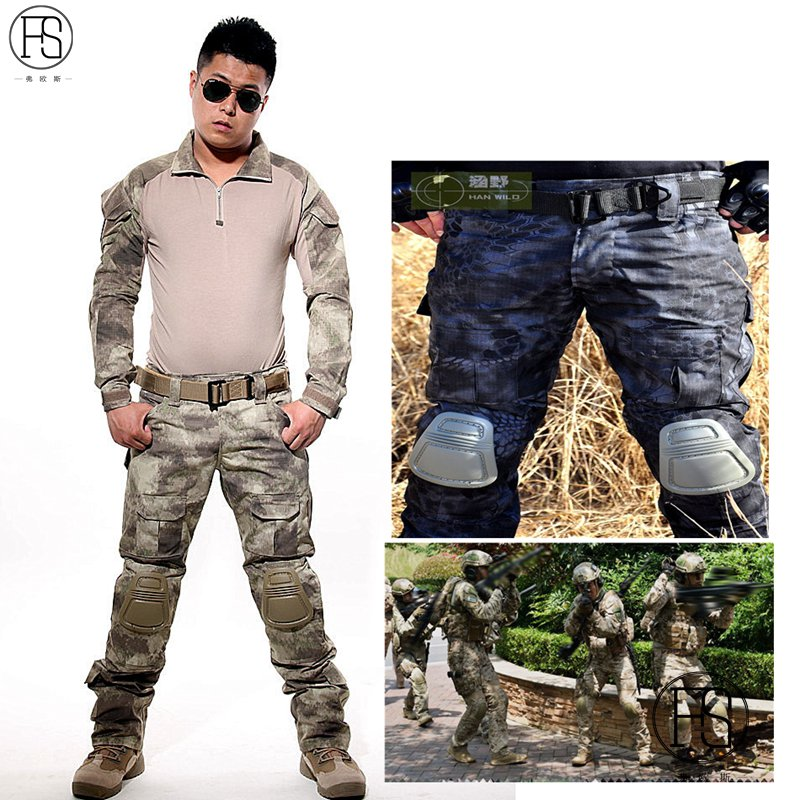 все цены на Tactical military uniform clothing army of the military combat uniform tactical pants with knee pads camouflage hunting clothes