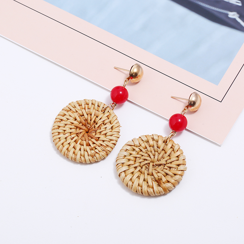 Handmade Round Big Drop Earrings For Women Black Red Beads Wooden Weave Rattan Earrings Wedding Trendy Dangle Jewelry Party Gift in Drop Earrings from Jewelry Accessories