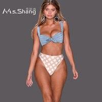 Ms Shang Dot Swimming Suit Women Swimwear High Waist Bikini Swimsuit 2018 Sexy Brazilian Bikini Set