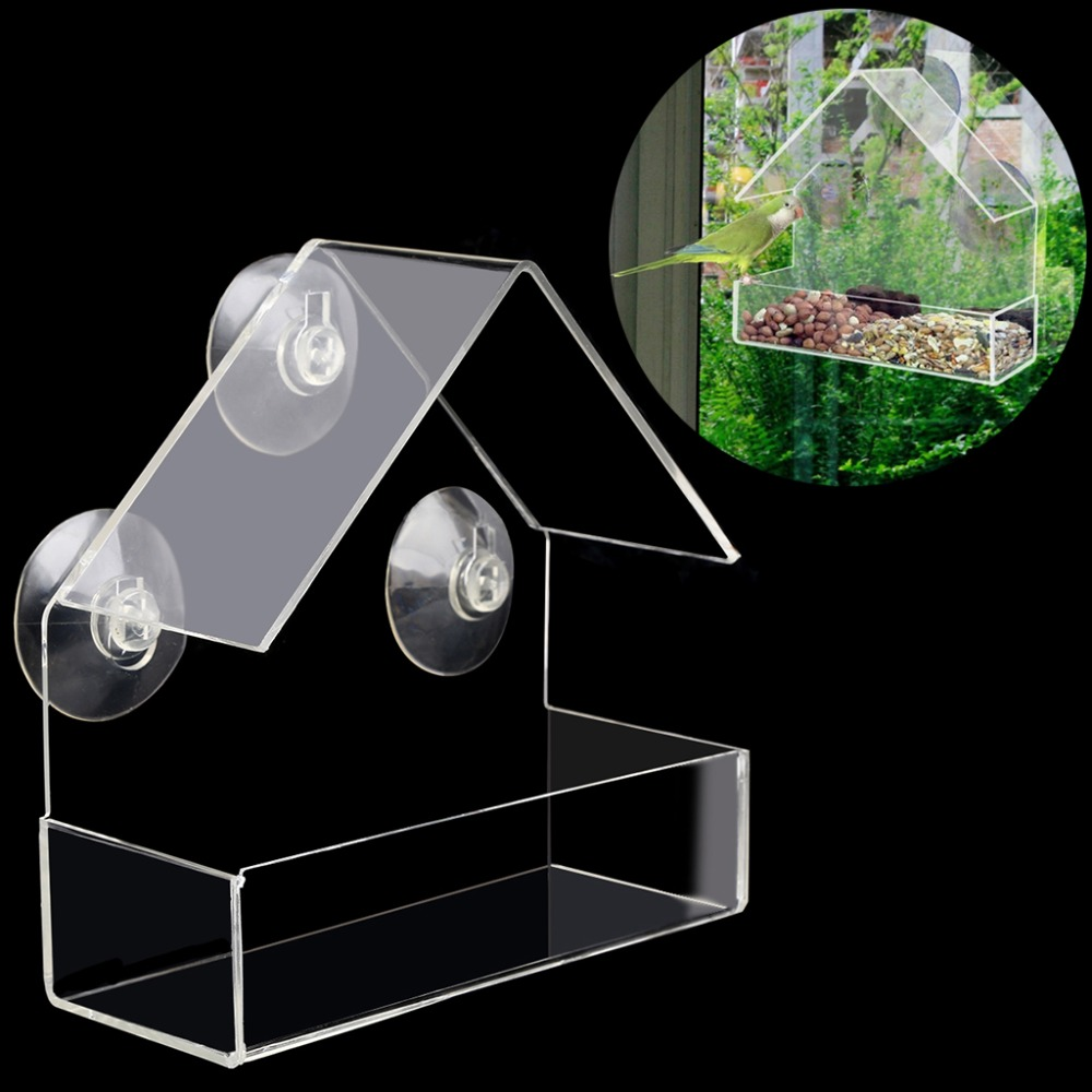 Free Delivery Creative Pet Bird Feeder Clear Window Squirrel Proof Bird Feeder Window Bird Feeders 2017 New