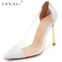 Lsewilly 2019 Spring Gold Silver Red Transparent Bling Women Shoes High Heel Summer Pumps Dress Bridal Wedding E722