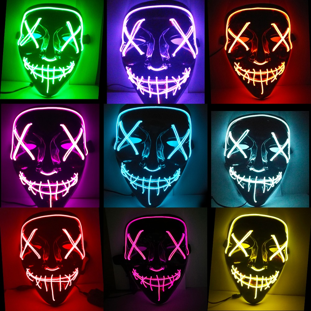 Halloween Mask LED Light Up Funny Masks The Purge Election Year Great Festival Cosplay Costume Supplies Party Masks Glow In Dark