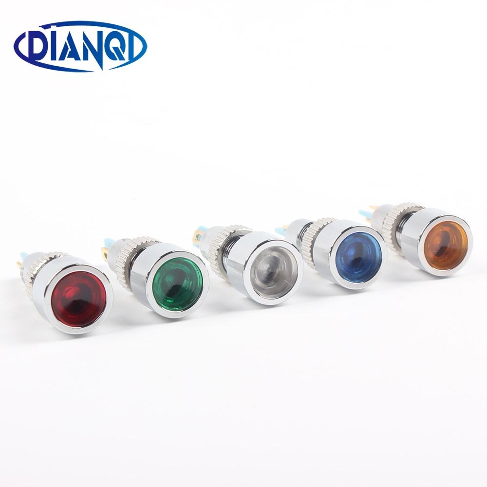 LED Metal Indicator Light 8mm Waterproof POWER Signal Lamp 6V 12V 24V 220v Red Yellow Blue Green  White 8ZSD.DT.C Big Lens