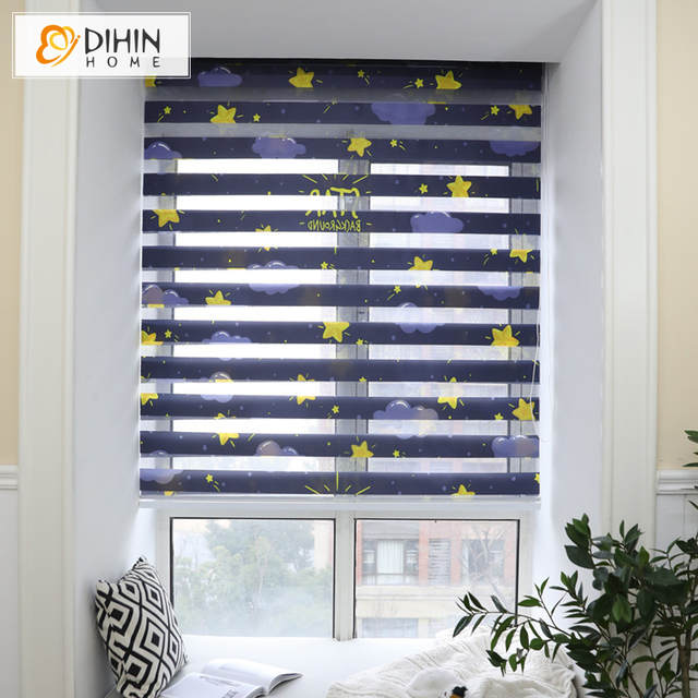 Luxury Stars Printed High Quality Zebra Blinds Double Layer Roller Customized Size