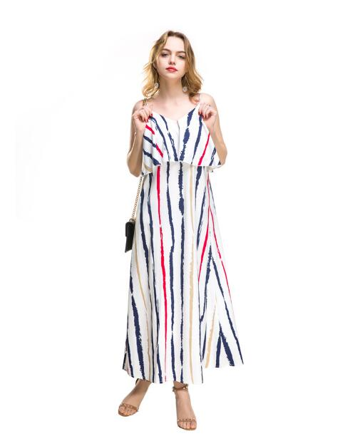 Stripes Halter Chiffon Long Dress Maxi Dresses Vestidos Sexy Casual Sleeveless Split Beach Women Summer Dress