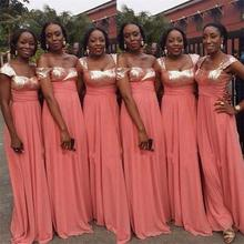 2016 Shiny Peach Sequined Bridesmaid Dresses A Line Chiffon Floor-Length De Casamento Robe Demoiselle D'honneur Bridesmaid Dress