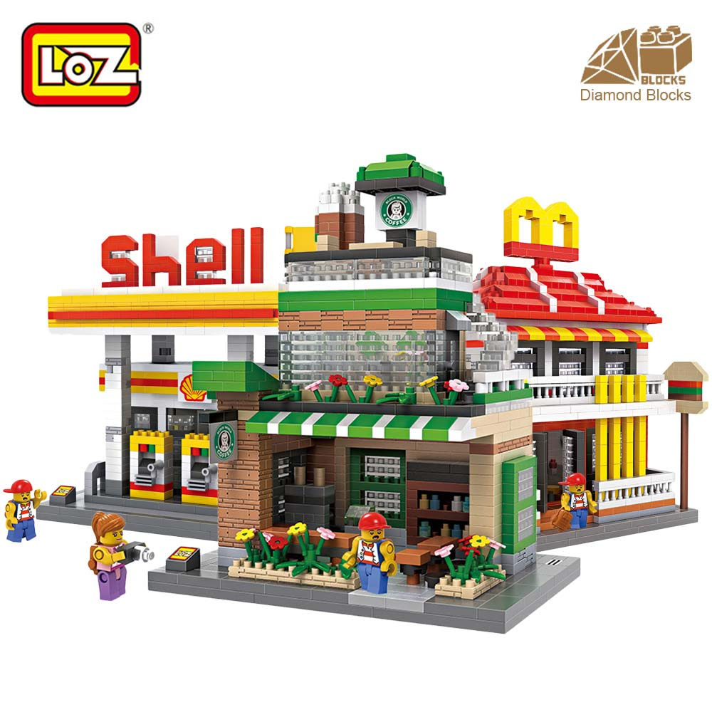 LOZ Diamond Blocks Architecture Mini Street View Building Blocks Bricks City Store Shop Model Gift for Children Toys Educational compatible lepin city mini street view building blocks chinatown satin silk store with saleman figures toys for children gift