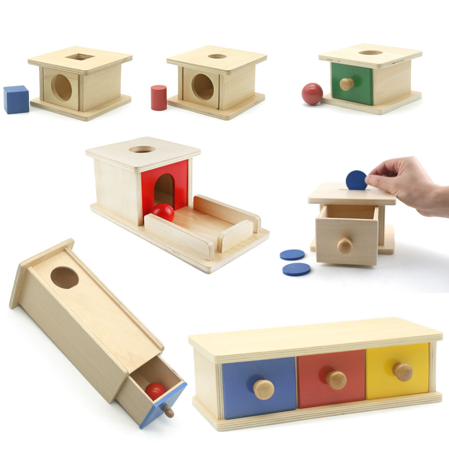 Montessori Drawer Box Object Performance Box Early Learning Educational Toys For Toddlers Wooden Montessori Material MD3044H