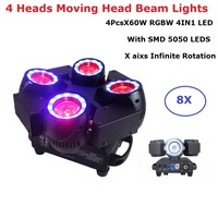 8XLot LED Lyre Moving Head Lights 4X60W RGBW 4IN1 LED Beam Wash Moving Head Stage Lights With SMD5050 LEDS For Dj Nightclubs KTV