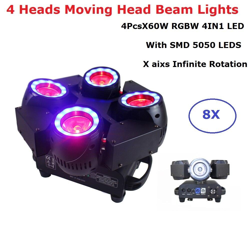 Lumières principales mobiles d'étape de lavage de faisceau de LED de 8 XLot LED Lyre 4X60 W RGBW 4IN1 avec SMD5050 LED S pour des boîtes de nuit de Dj KTV