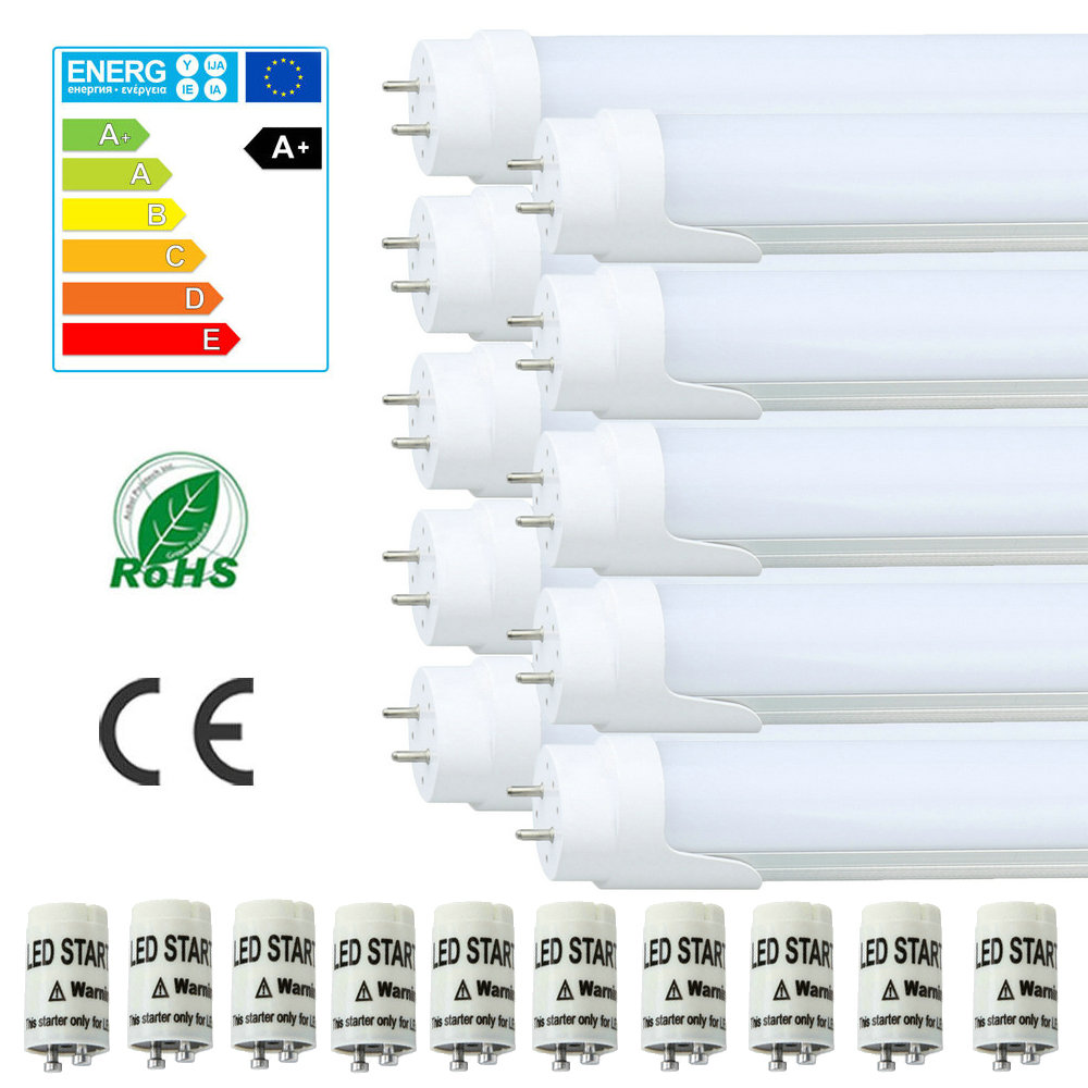 Maidodo 10X T8 G13 2FT 60-150cm 9-24W 810-2160LM Leds SMD 6000-6500K LED Tube Bulbs Fluorescent/Neon Tubes W White Cover 10pcs