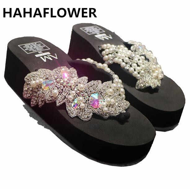 cffd26410d0d HAHAFLOWERsummer women sandals shiny diamond crystals handmade pearl slip  on sandal slides bohemia slippers wedge platform
