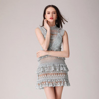 Brand Self Portrait Dress 2017 Spring Summer Elegant Sleeveless Slim Hollow Out Lace Mini Women Dress