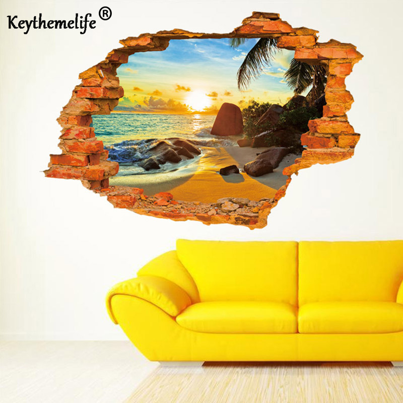 Keythemelife Wall stickers Tropical beach broken hole DIY ...