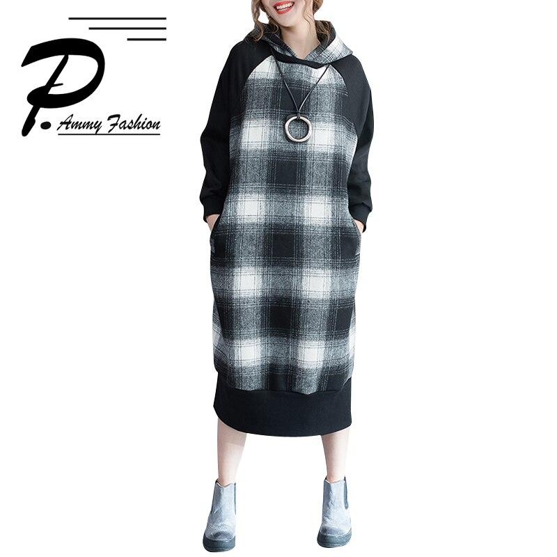 Grande taille à capuche épaissir chaud Plaid pull robe femmes hiver surdimensionné à manches longues à carreaux décontracté sweat lâche pulls