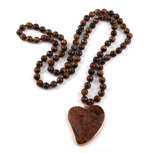 New Fashion Bohemian Jewelry Natural Tiger Eye Stone Knotted Brown Stone heart Pendant Women Necklace