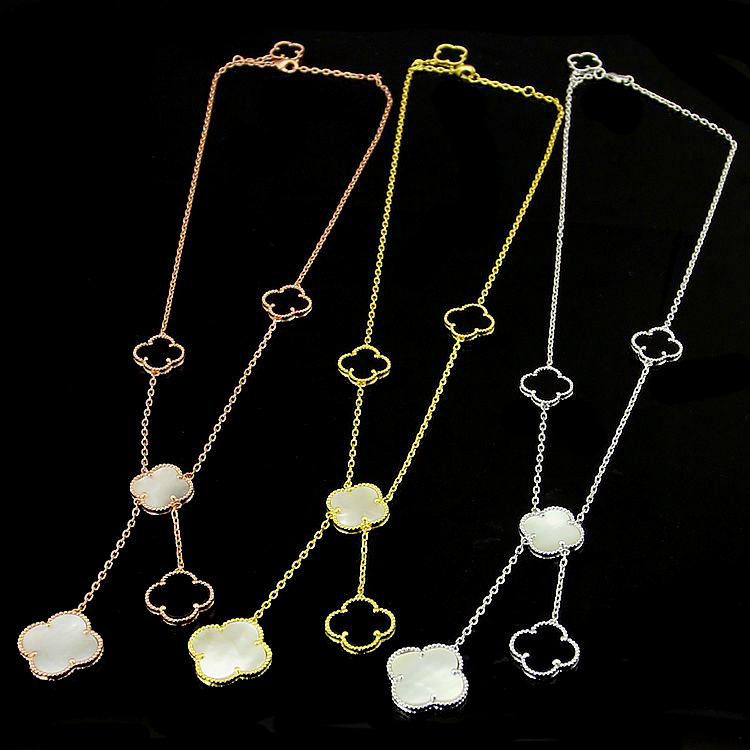 2017 Beautiful Tassel Necklace Onyx Malachite Five Flower Clover Necklace High Quality Stainless Steel Necklace For