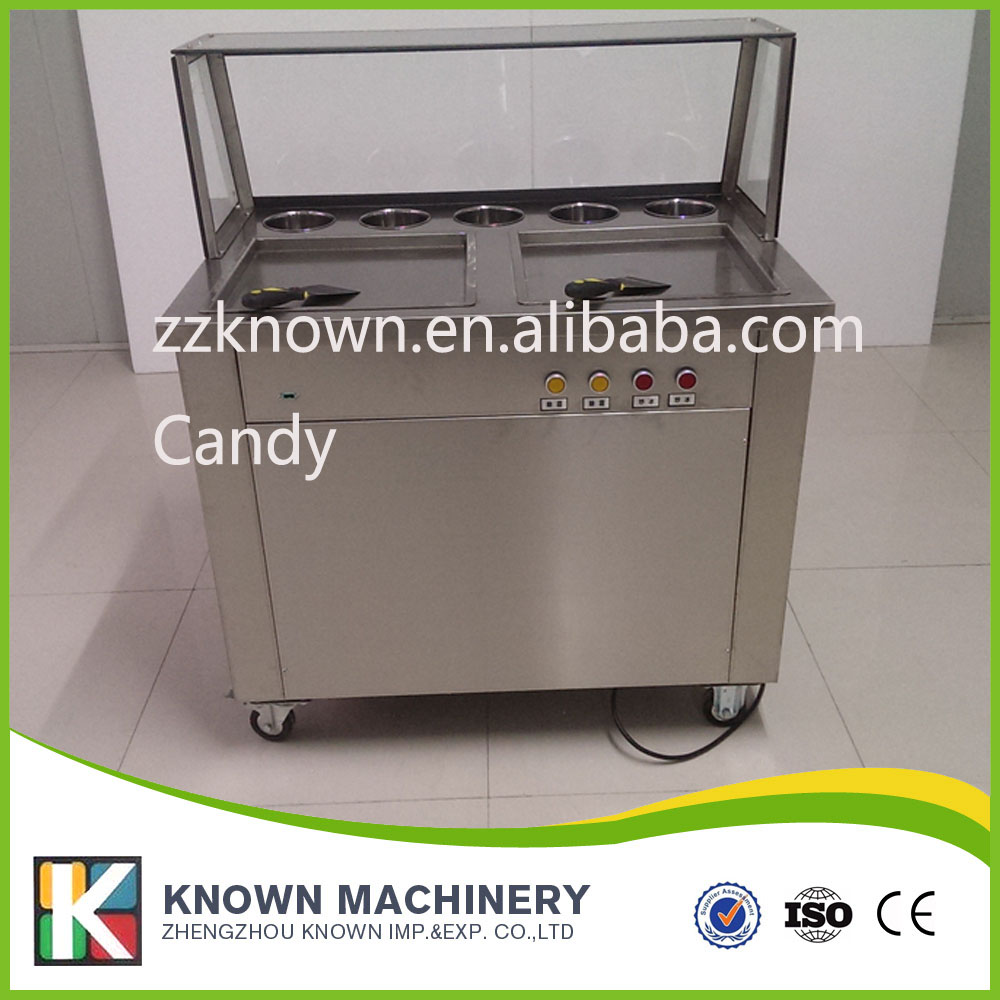 220v Commercial Ice Fried Machine Double Pan Ice cream Frying Machine,double pan fried ice cream machine double pressure ice frying machine double pan fried ice cream machine