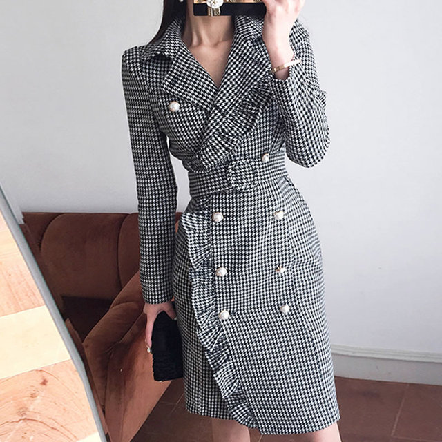 Blazer Feminino Limited 2018 Autumn New Fashion Double-breasted Fungus Waist Slim Plaid Long Suit Jacket Female Blazer Coat