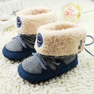 Winter Warm Fur Snow Boots Newborn Toddler Baby Boy Girl Stripes Soft Sole Booties First Walkers