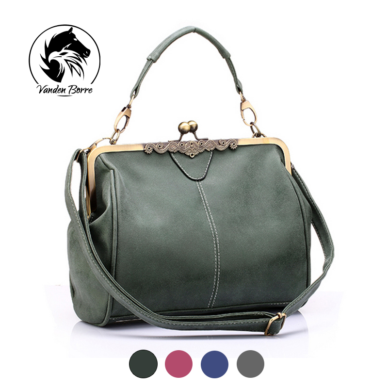 Brand new vintage bags retro PU leather tote bag women messenger bags small gree