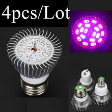 (4pcs/Lot) 18 LEDs Grow Light E27 E14 GU10 18W AC85-265V Full Spectrum Indoor Plant Lamp For Plants Vegs Plant Light Wholesale