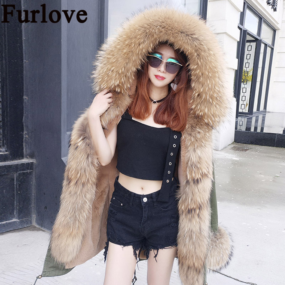 2017 Winter Jacket Women Coats Real Large Raccoon Fur Collar Female Parka Army Green Thick Soft Faux fur Lining Ladies