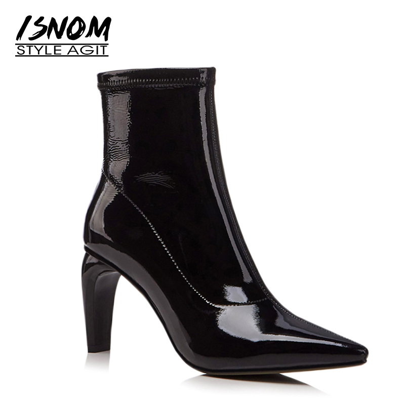 ISNOM Genuine Leather Boots Women Pointed Toe Ankle Boots Fashion High Heels Shoes 2018 New Zipper Strange Style FootwearISNOM Genuine Leather Boots Women Pointed Toe Ankle Boots Fashion High Heels Shoes 2018 New Zipper Strange Style Footwear