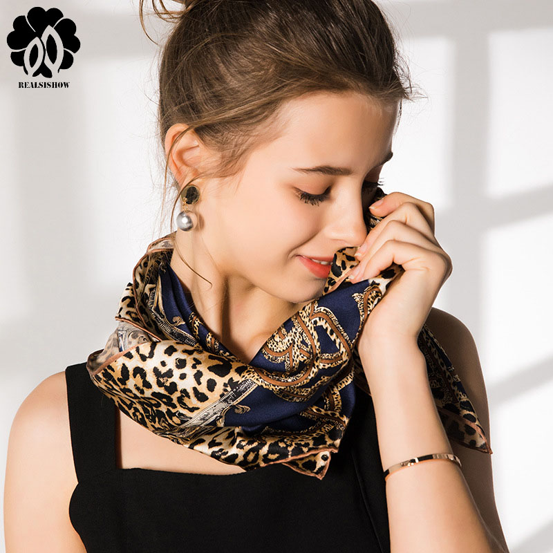 REALSISHOW High-Quality Silk Scarf 100% Leopard Print Large Square All-Match Shawl