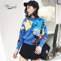 5878976a7 2019 Spring New Fashion Women Short Sweaters Full Sleeve O Neck Sequined  Blue Pullovers Computer Knitted