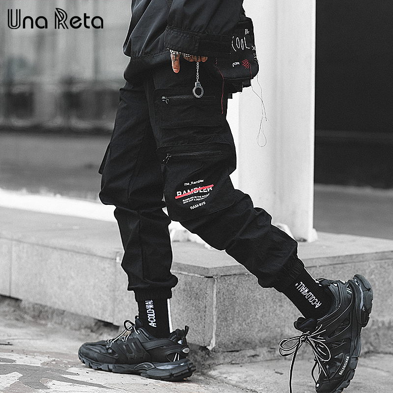 Una Reta Streetwear Mens Pants New Hip Hop Zip Pocket Trousers Joggers Men High Fashion Casual Elastic Waist Men's Sweatpants