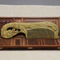 Antique Carved Wooden Carving Dragon Carved Double Green Sandalwood comb ornaments gifts